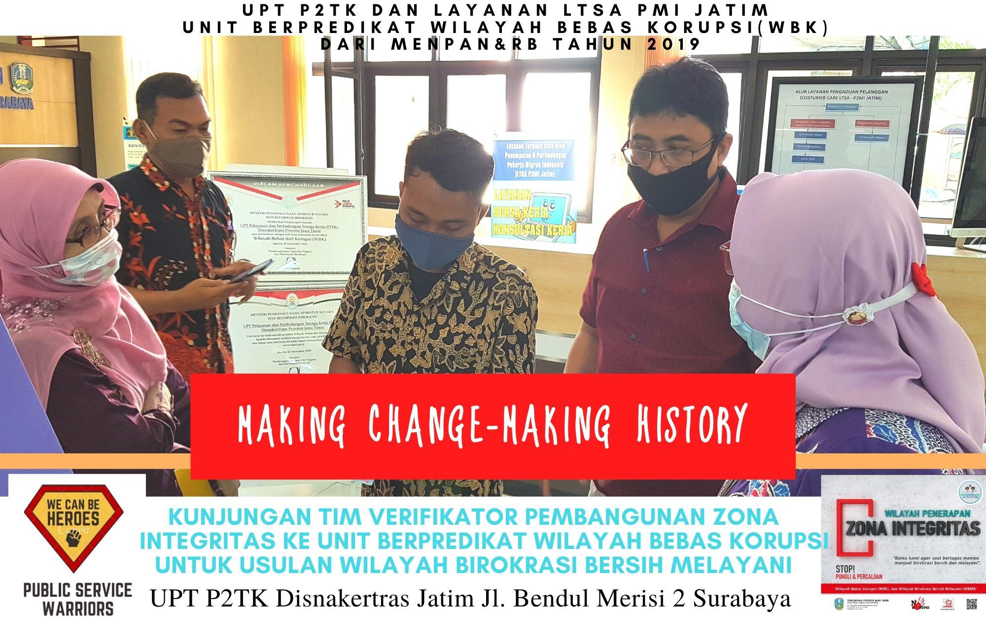 Tim Evaluasi Pembangunan Zona Integritas Cek Kesiapan Unit Yang Telah Berpredikat Wilayah Bebas Korupsi (WBK) UPT P2TK Disnakertrans Jatim