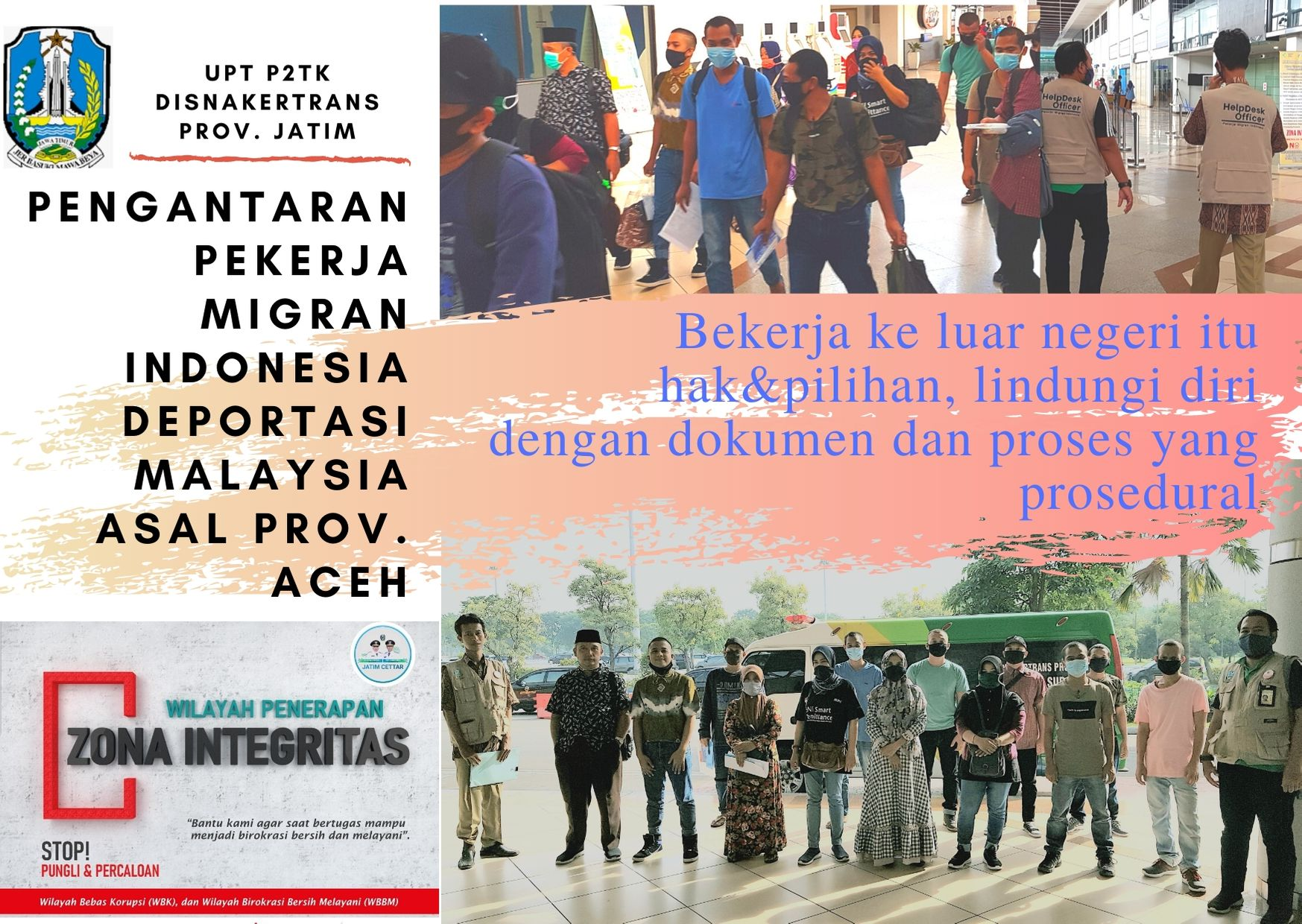 UPT P2TK Disnakertrans Jatim Fasilitasi Kepulangan PMI Deportasi asal Malaysia